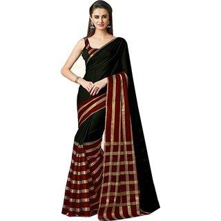 Florence Black Cotton Silk Plain Saree With Blouse