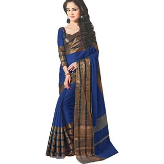 Florence Blue Cotton Silk Plain Saree With Blouse