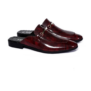 Frye Mens Maroon Patent Leather Mules