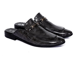Frye Mens Gray Patent Leather Mules