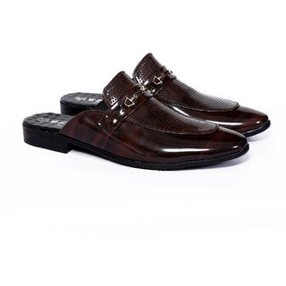 Frye Mens Brown Patent Leather Mules