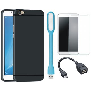 K8 Note Soft Silicon Slim Fit Back Cover with Tempered Glass, USB LED Light and OTG Cable