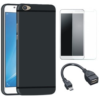 K8 Note Soft Silicon Slim Fit Back Cover with Tempered Glass and OTG Cable