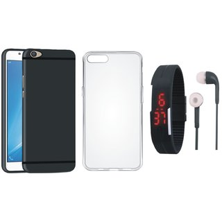 Redmi Note 5 Ultra Slim Back Cover with Silicon Back Cover, Digital Watch and Earphones