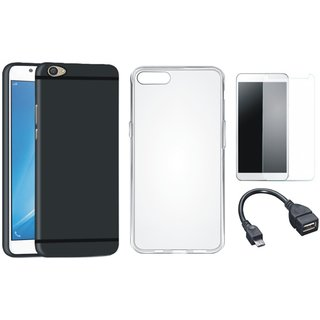 Vivo V7 Silicon Anti Slip Back Cover with Silicon Back Cover, Tempered Glass and OTG Cable