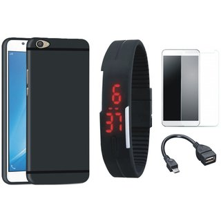 Redmi 5 Soft Silicon Slim Fit Back Cover with Free Digital LED Watch, Tempered Glass and OTG Cable