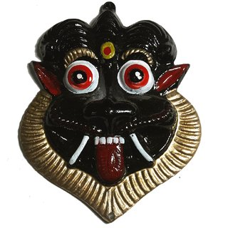 Black Nazar Battu- Wall Hanging Metal Mahakal Face Mask Nazar Battu Evil Eye Protector for Children, Home, Office etc-4