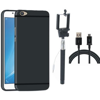 Vivo V9 Soft Silicon Slim Fit Back Cover with Selfie Stick and USB Cable