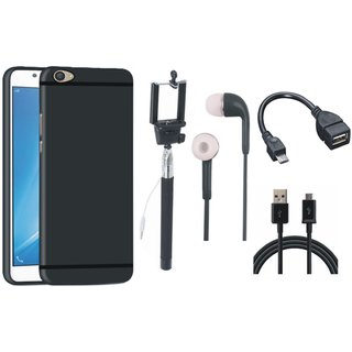 Vivo V7 Plus Soft Silicon Slim Fit Back Cover with Selfie Stick, Earphones, OTG Cable and USB Cable