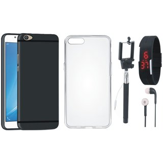 Vivo V9 Soft Silicon Slim Fit Back Cover with Silicon Back Cover, Selfie Stick, Digtal Watch and Earphones