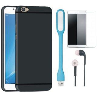 Vivo V5s Ultra Slim Back Cover with Tempered Glass, Earphones and USB LED Light