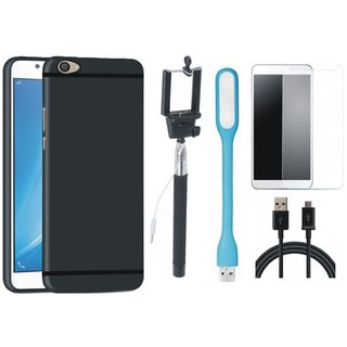 Vivo V9 Soft Silicon Slim Fit Back Cover with Free Selfie Stick, Tempered Glass, LED Light and USB Cable