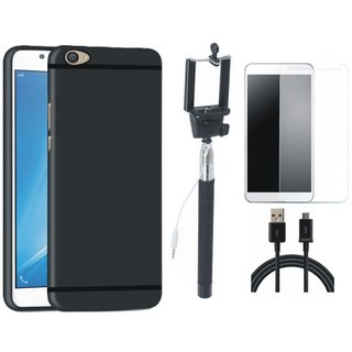 Vivo V7 Plus Soft Silicon Slim Fit Back Cover with Free Selfie Stick, Tempered Glass and USB Cable