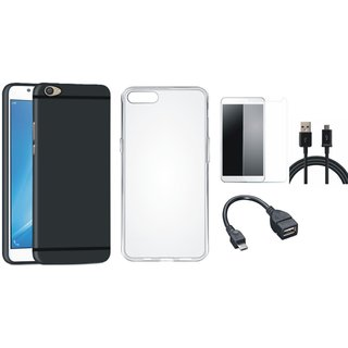 Vivo V7 Plus Soft Silicon Slim Fit Back Cover with Silicon Back Cover, Tempered Glass, OTG Cable and USB Cable