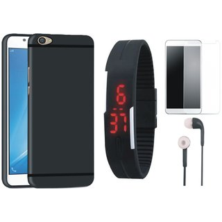 Vivo V9 Soft Silicon Slim Fit Back Cover with Free Digital LED Watch, Tempered Glass and Earphones