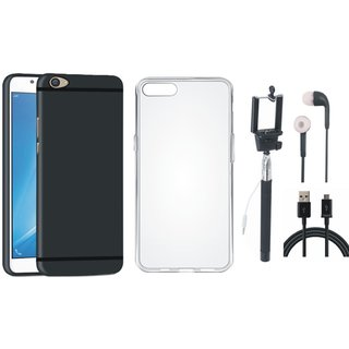 Vivo V5s Ultra Slim Back Cover with Silicon Back Cover, Selfie Stick, Earphones and USB Cable
