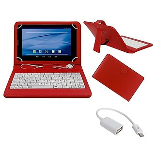 7inch Keyboard Adcom 707D Apad 3D Tab- Red with OTG Cable by Sanvi Enterprises