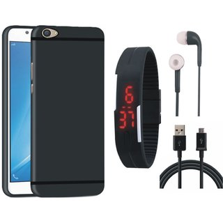 Oppo A57 Soft Silicon Slim Fit Back Cover with Digital Watch, Earphones and USB Cable