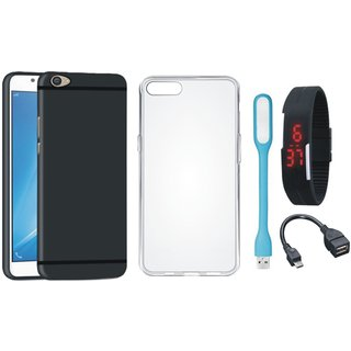 Oppo A57 Soft Silicon Slim Fit Back Cover with Silicon Back Cover, Digital Watch, OTG Cable and USB LED Light