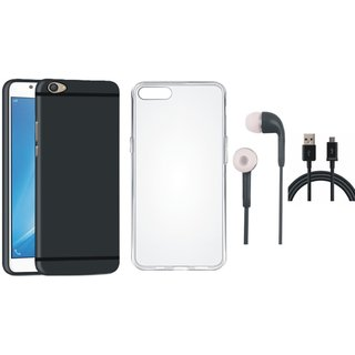 Oppo A57 Soft Silicon Slim Fit Back Cover with Silicon Back Cover, Earphones and USB Cable