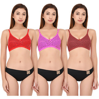 DeVry Polka Dot Cotton Rich Non Padded Perfect Coverage Bra Pack Of 3 Pc Set
