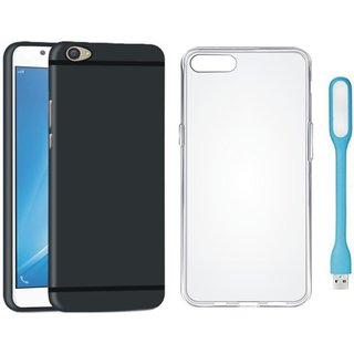 Oppo A57 Soft Silicon Slim Fit Back Cover with Silicon Back Cover, USB LED Light
