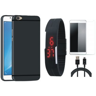 Vivo V9 Stylish Back Cover with Free Digital LED Watch, Tempered Glass and USB Cable