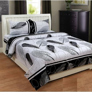 CredereMart 3D Designer Feather and Leafs Printed 180Tc Polycotton Double Bedsheet with 2 Pillow Covers