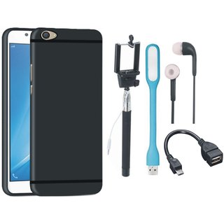 Vivo Y69 Silicon Anti Slip Back Cover with Selfie Stick, Earphones, OTG Cable and USB LED Light