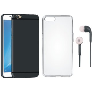 Vivo V9 Silicon Anti Slip Back Cover with Silicon Back Cover and Earphones