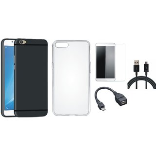 Vivo V7 Plus Silicon Anti Slip Back Cover with Silicon Back Cover, Tempered Glass, OTG Cable and USB Cable