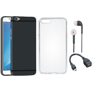 Vivo V9 Silicon Anti Slip Back Cover with Silicon Back Cover, Earphones and OTG Cable