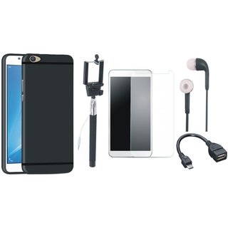 Vivo V7 Plus Silicon Anti Slip Back Cover with Free Selfie Stick, Tempered Glass, Earphones and OTG Cable