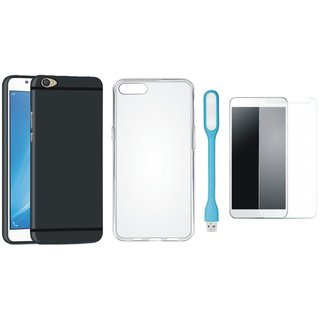 Vivo V7 Plus Silicon Anti Slip Back Cover with Silicon Back Cover, Tempered Glas and USB LED Light