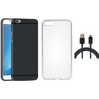 Vivo V9 Silicon Anti Slip Back Cover with Silicon Back Cover, USB Cable