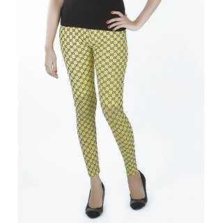 Yellow Tree Net Legging Lycra Yellow Women Chudidar Legging Tiger Print Free Size Fit S to L