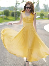 Westchic YELLOW V-NECK Long Dress