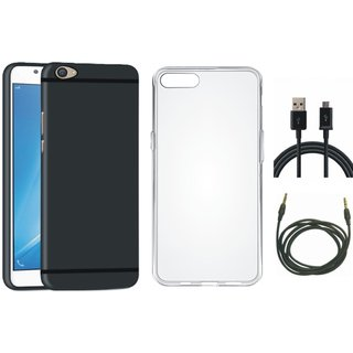 Oppo A37 Soft Silicon Slim Fit Back Cover with Silicon Back Cover, USB Cable and AUX Cable