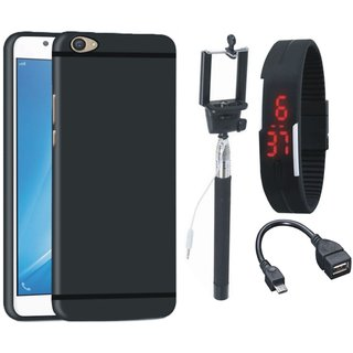 Oppo A37 Soft Silicon Slim Fit Back Cover with Selfie Stick, Digtal Watch and OTG Cable