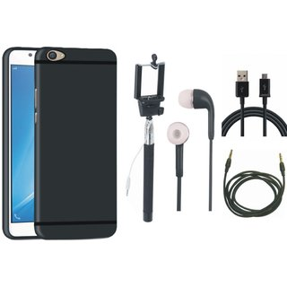Oppo A37 Soft Silicon Slim Fit Back Cover with Selfie Stick, Earphones, USB Cable and AUX Cable