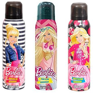Barbie Fabulous Me Pink N Fun and Pretty N Pink Deodorant for Girls Combo Pack of 2 150ML each 450ML