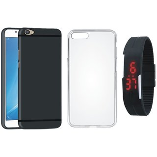 Oppo A37 Stylish Back Cover with Silicon Back Cover, Digital Watch