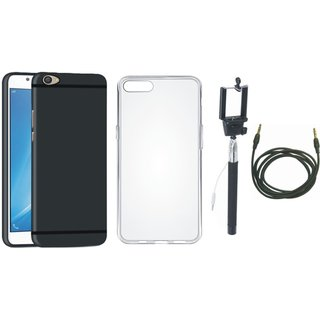 Oppo A37 Cover with Silicon Back Cover, Selfie Stick and AUX Cable