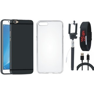Oppo A37 Stylish Back Cover with Silicon Back Cover, Selfie Stick, Digtal Watch and USB Cable