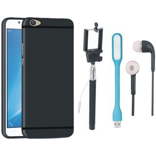 Oppo A37F Soft Silicon Slim Fit Back Cover with Selfie Stick, Earphones and USB LED Light