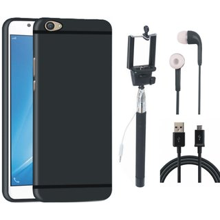 Oppo A37F Soft Silicon Slim Fit Back Cover with Selfie Stick, Earphones and USB Cable