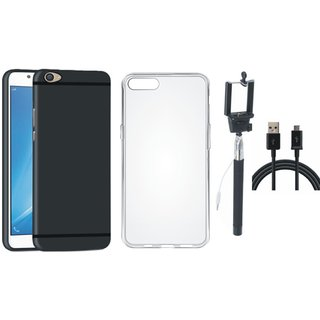 Oppo A37F Soft Silicon Slim Fit Back Cover with Silicon Back Cover, Selfie Stick and USB Cable