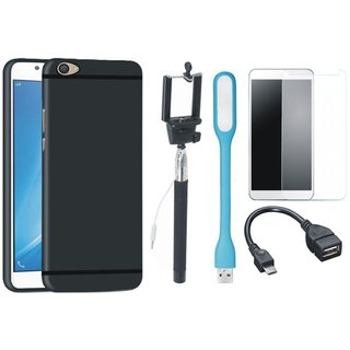 Oppo A37 Silicon Anti Slip Back Cover with Free Selfie Stick, Tempered Glass, LED Light and OTG Cable