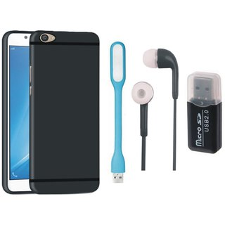 Vivo Y55 Soft Silicon Slim Fit Back Cover with Memory Card Reader, Earphones and USB LED Light