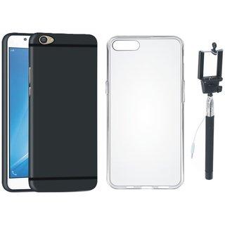 Moto E4 Plus Ultra Slim Back Cover with Silicon Back Cover, Free Silicon Back Cover and Selfie Stick